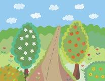 Paisagem brilhante do verão dos desenhos animados Foto de Stock