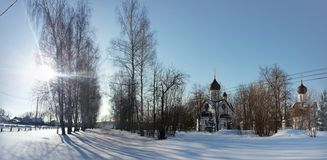 Paisagem cênico do inverno com igreja Foto de Stock Royalty Free