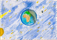 Paisagem cósmica do Watercolour fotos de stock