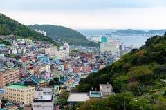 Paisagem c?nico da vila da cultura de Gamcheon no distrito de Saha, Busan, Coreia do Sul fotos de stock