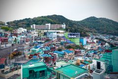Paisagem c?nico da vila da cultura de Gamcheon no distrito de Saha, Busan, Coreia do Sul fotografia de stock royalty free