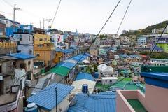 Paisagem c?nico da vila da cultura de Gamcheon no distrito de Saha, Busan, Coreia do Sul imagens de stock