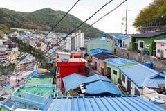 Paisagem c?nico da vila da cultura de Gamcheon no distrito de Saha, Busan, Coreia do Sul foto de stock