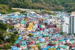 Paisagem c?nico da vila da cultura de Gamcheon no distrito de Saha, Busan, Coreia do Sul imagem de stock