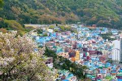 Paisagem c?nico da vila da cultura de Gamcheon no distrito de Saha, Busan, Coreia do Sul fotografia de stock