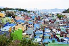 Paisagem c?nico da vila da cultura de Gamcheon no distrito de Saha, Busan, Coreia do Sul imagens de stock royalty free