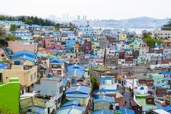 Paisagem c?nico da vila da cultura de Gamcheon no distrito de Saha, Busan, Coreia do Sul foto de stock royalty free