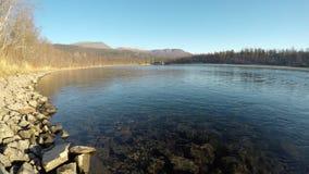 Paisagem calma bonita do rio no outono atrasado com céu azul e floresta video estoque