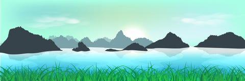Paisagem, campo de grama natural e vale, trave da manhã do nascer do sol ilustração stock