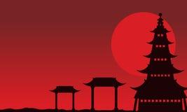 Paisagem chinesa do tema das silhuetas Fotografia de Stock