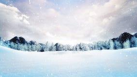Paisagem coberto de neve da montanha do inverno na queda de neve Fotografia de Stock