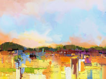 Paisagem colorida abstrata da pintura a óleo Fotos de Stock Royalty Free