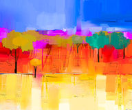 Paisagem colorida abstrata da pintura a óleo na lona Fotos de Stock