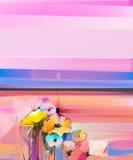 Paisagem colorida abstrata da pintura a óleo na lona ilustração stock