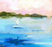 Paisagem colorida abstrata da pintura a óleo na lona Imagens de Stock