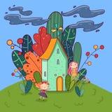 Paisagem colorida Casa do conto de fadas com o moinho de vento no telhado, floresta com as árvores diferentes atrás dele Fadas bo ilustração stock