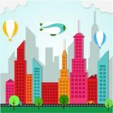 Paisagem colorida da cidade do Applique Ilustração Stock
