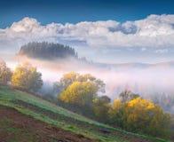 Paisagem colorida do outono nas montanhas imagem de stock