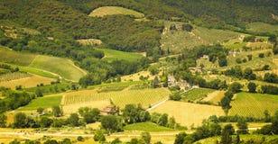 Paisagem colorida maravilhosa de Toscana na luz solar Fotografia de Stock