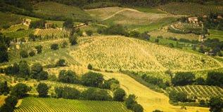 Paisagem colorida maravilhosa de Toscana na luz solar Fotos de Stock Royalty Free