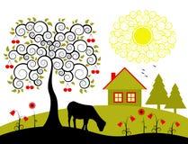 Paisagem com árvore de cereja ilustração do vetor