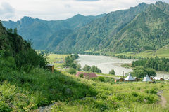 Paisagem com árvores das montanhas e um rio Imagem de Stock Royalty Free
