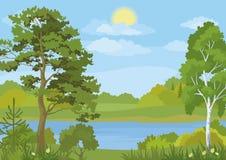Paisagem com árvores, lago e Sun Foto de Stock Royalty Free