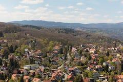Paisagem com arquitetura da cidade de Wernigerode Fotografia de Stock
