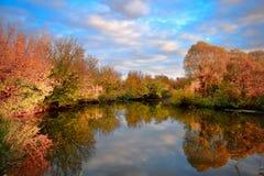 Paisagem com as árvores coloridas do outono refletidas dentro fotos de stock royalty free