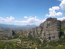 Paisagem com as montanhas de Meteora em Grécia Fotografia de Stock