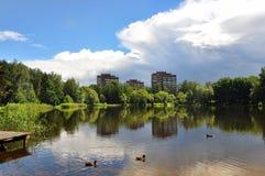 Paisagem com as nuvens da reflexão do lago Imagens de Stock