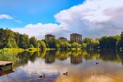 Paisagem com as nuvens da reflexão do lago Fotos de Stock Royalty Free