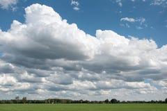 Paisagem com as nuvens grandes no céu Fotos de Stock Royalty Free