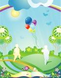 Paisagem com as silhuetas das crianças Ilustração do Vetor