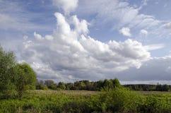 Paisagem com baixas nuvens fotografia de stock royalty free