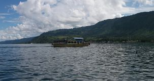 Paisagem com barco e céu video estoque