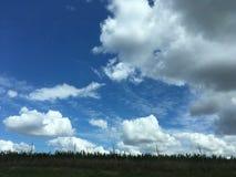 Paisagem com céu azul e as nuvens brancas Imagens de Stock