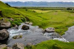 Paisagem com cachoeira e carneiros de Thorsteinslundur Imagem de Stock