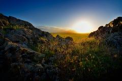 Paisagem com campos no nascer do sol Fotografia de Stock