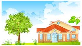 Paisagem com casa ilustração royalty free