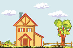 Paisagem com casa Imagens de Stock Royalty Free