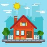 Paisagem com casa em um projeto liso Foto de Stock Royalty Free