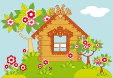 Paisagem com casas e as árvores de florescência Ilustração do Vetor