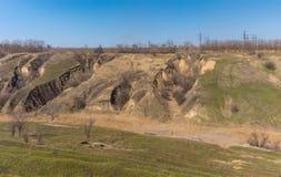 Paisagem com erosão do solo na estação de mola adiantada Imagens de Stock Royalty Free