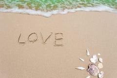 Paisagem com escudos na praia tropical, imagens de stock royalty free