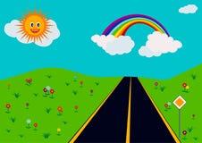 Paisagem com estrada ilustração royalty free