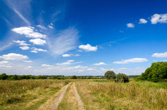 Paisagem com a estrada de terra no campo fotografia de stock royalty free