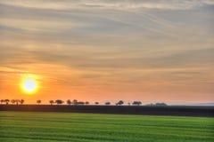 Paisagem com a estrada distante no nascer do sol Imagem de Stock