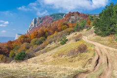 Paisagem com a estrada nas montanhas Fotos de Stock