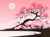 Paisagem com flor de cerejeira Imagens de Stock